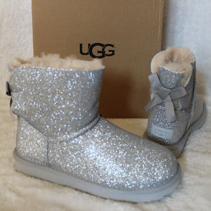 UGG SPARKLE SILVER MINI BOW BOOTS SILVER 7 8